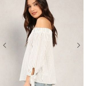 Papaya Black/White Striped Off Shoulder Top Small